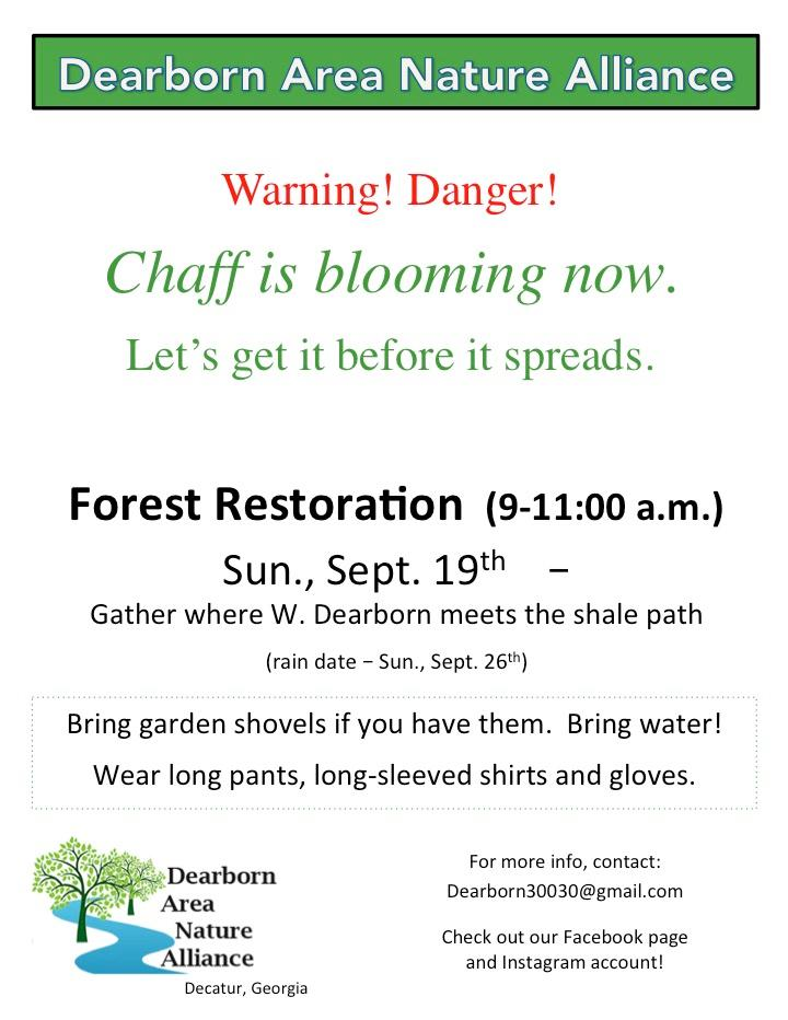 Friends of Dearborn Park invites Dearborn Area Nature Alliance for Forest Restoration